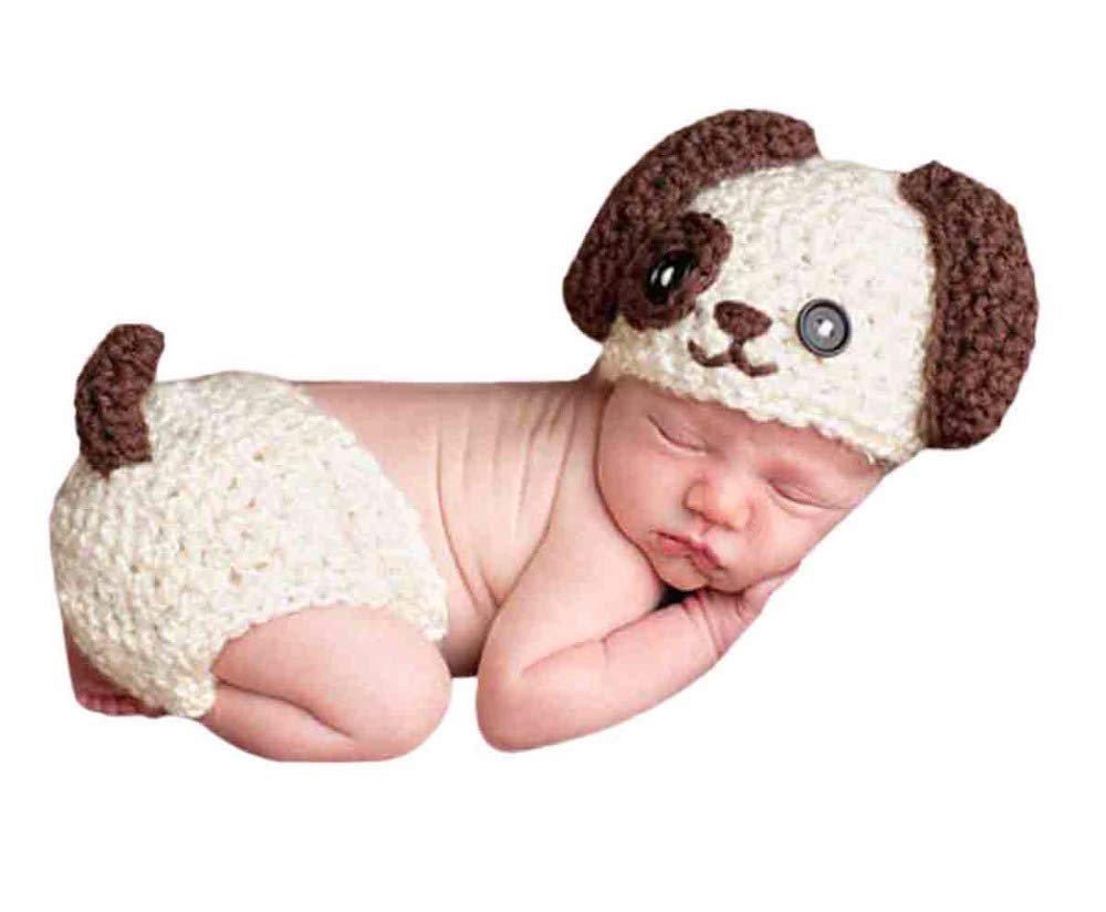 Baby Infant Newborn Photography Props Boy Girls Photo Shoot Outfits puppy Crochet Knitted Unisex Photograph Hat Shorts Set (Beige)