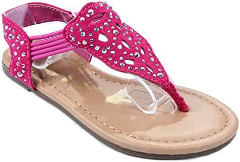 6d33a30f5a106f Calie06 Kids T-Strap Rhinestone Cutout Stretchable Slingback Flat Thong  Sandal Shoes