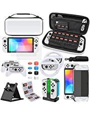 Accessories Bundle for Nintendo Switch OLED Model, MENEEA Carrying Case & Screen Protector, Dockable Clear Cover, Grips & Charger Dock for Joycons, Steering Wheels, Console Stand & Game Card Case