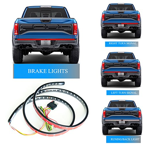 Homeyard 60Inch LED Truck Tailgate Light Strip Bar 90LEDs Red/White Reverse Stop Turn Signal Running for Pickup SUV RV Trailer