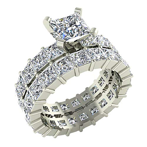 (Princess Cut Eternity Diamond Shank & Eternity Wedding Band Ring 7.72 Carat Total Weight 14K White Gold Center ¾ Carat (Ring Size 7))