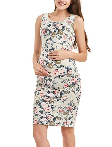 Maternity Floral Dress Sleeveless Midi Bodycon Dress for Pregnant Women Casual Ruched Sides Beige Flower Print S
