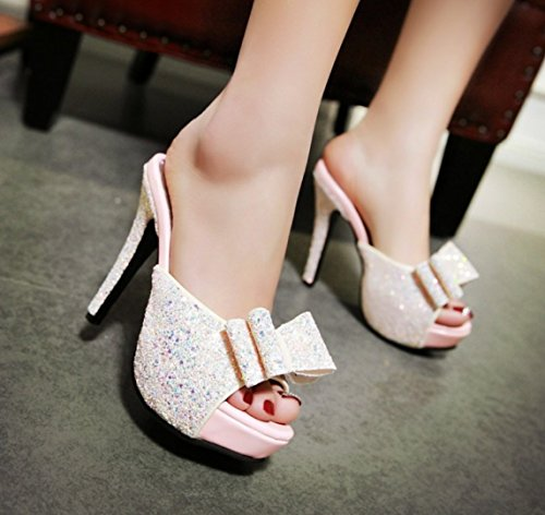 Women's Sandals High Heels Peep Toes Party Shoes Comfortable Bow Sandals pink pLzm3B