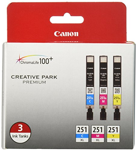 Canon CLI-251XL 3-Ink Value Pack, Compatible for MX922,iP8720,iX6820,MG7520, MG6420, MG5620, and MG5721 Printers -
