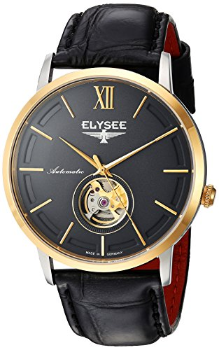 Amazon.com: Elysee Mens Classic-Edition Automatic Gold-Tone and Leather Casual Watch, Color:Black (Model: 77011G): ELYSEE: Watches