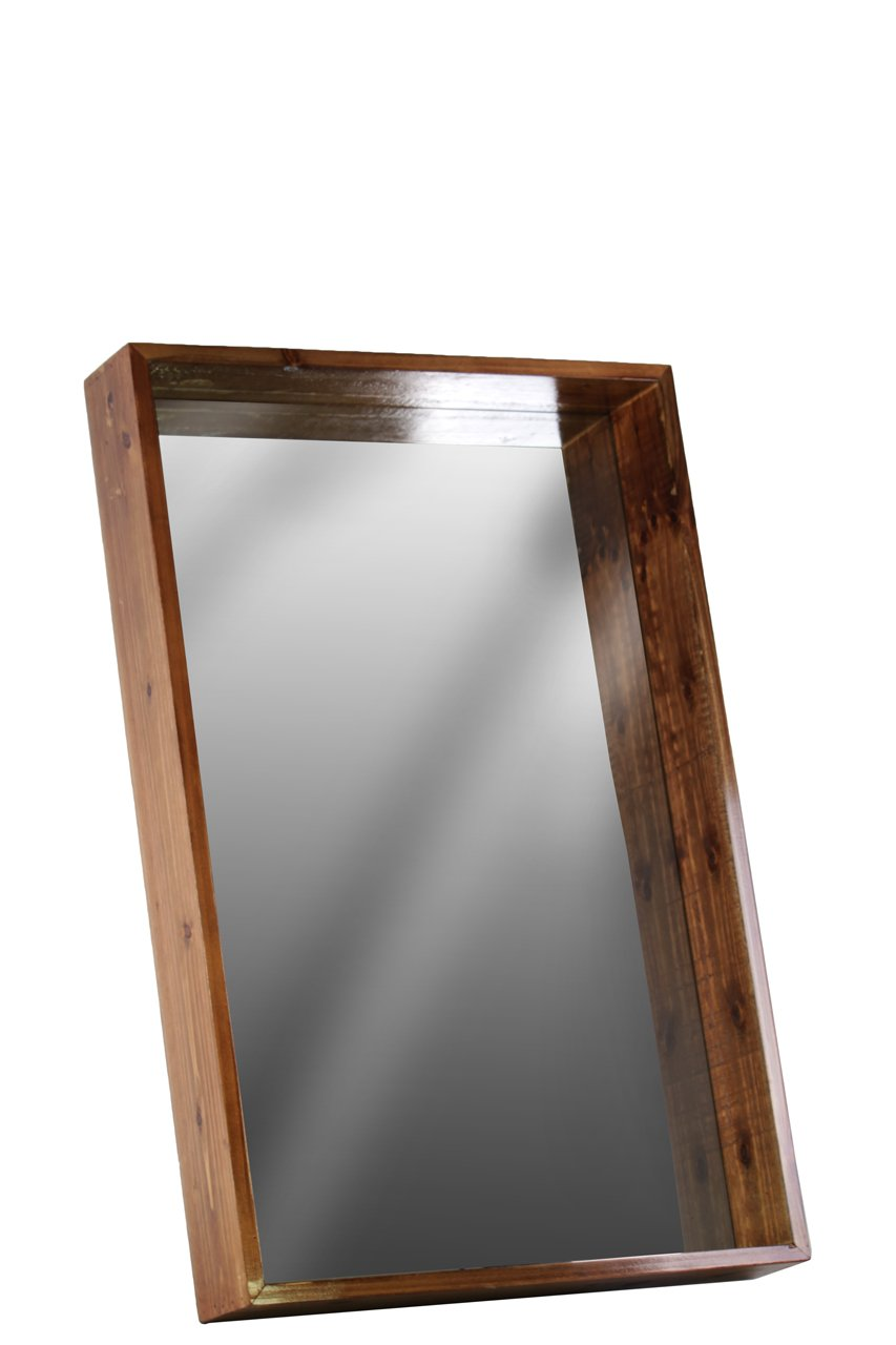 Urban Trends Wood Rectangular Wall Mirror with Protruding Frame MD Varnished Wood Finish Brown, Medium