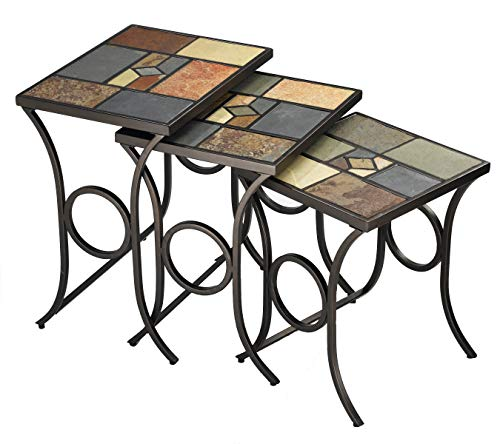 - Hillsdale Furniture 61713 Pompeii Nesting Tables, Black Gold Metal with Slate Mosaic