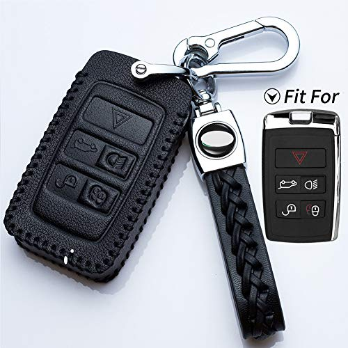 Hey Kaulor Full Protection Soft Leather Smart keyless Entry Remote Key Fob case Cover Keychain for 2018 2019 Land Rover Range Rover Sport Evoque Velar Discovery 5