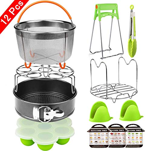 (Aiduy 12 Pieces Pressure Cooker Accessories Set Compatible with Instant Pot 6,8Qt-Steamer Basket,Non-stick Springform Pan,Egg Bites Mold, Egg Rack, Steamer Trivet, Kitchen Tongs,3 Cheat)