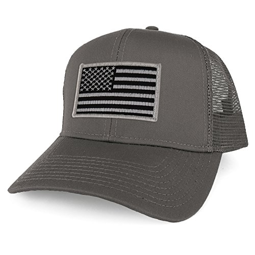 Armycrew XXL Oversize Black Grey USA Flag Patch Mesh Back Trucker Baseball Cap - Charcoal