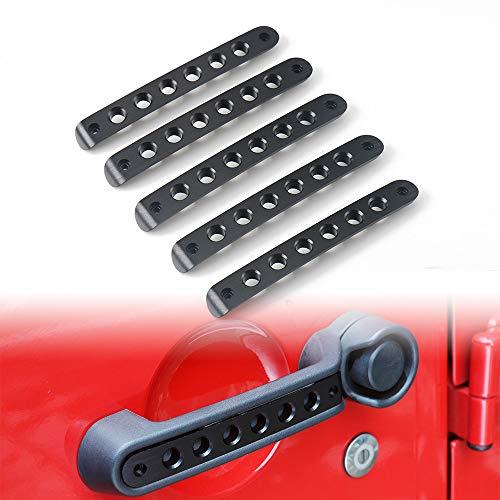 5Pcs/Set Aluminum Door Grab Handle Inserts Cover Trim for Jeep Wrangler JK & Unlimited Rubicon Sahara Sports 4 Door 2007-2018 (Black)