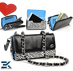 Women's Shoulder Bag Wallet Wristlet Clutch Universal Phone Bag compatible with HTC Magic Case - ZEBRA with GLOSSY BLACK