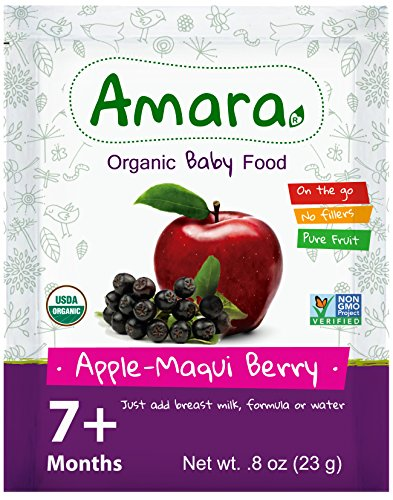 Baby Food Stage 3 ORGANIC - NON GMO & GLUTEN FREE - Apple Maqui Flavor (24 Pouches) for 8 Month Happy Healthy Toddlers - Best Natural Dried Fruit & Vegetables Mix with Breast Milk Formula or Water