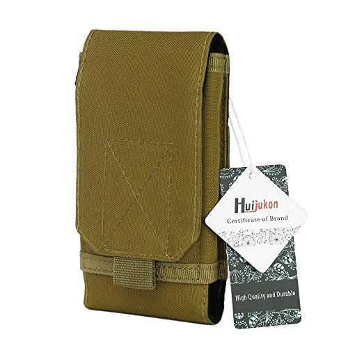 Huijukon MOLLE Tactical Smartphone Pouch Military 1000D Nylon Hook Loop Belt Phone Holster Cover Case for 4.7' iPhone 7 iPhone 7 Plus 5.5' (Khaki)
