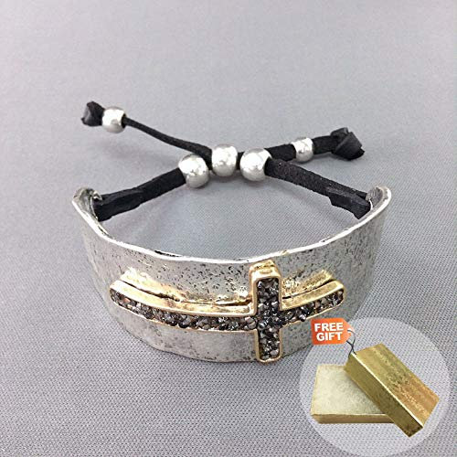 Gold Antique Silver Hematite Rhinestone Cross Design Adjustable Bangle Fashion Jewelry Bracelet For Women + Gold Cotton Filled Gift Box for - Hematite Cross Rhinestone