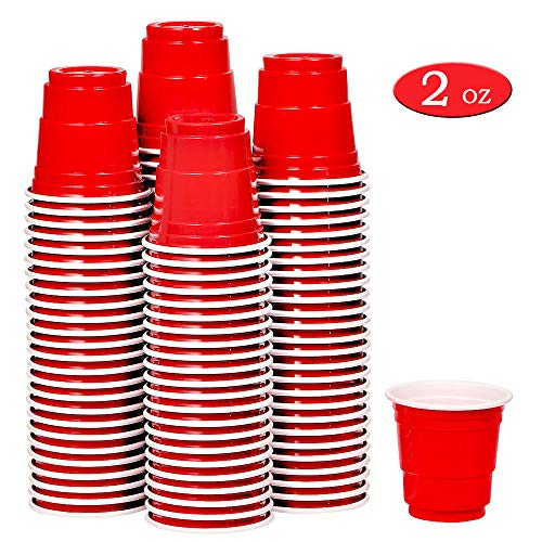 100ct 2oz Shot Glasses Disposable, Cute Red Mini Plastic Cups, Small Size Perfect for Party Games, Jello Shots, Jager Bomb, Tasting, Samples ()