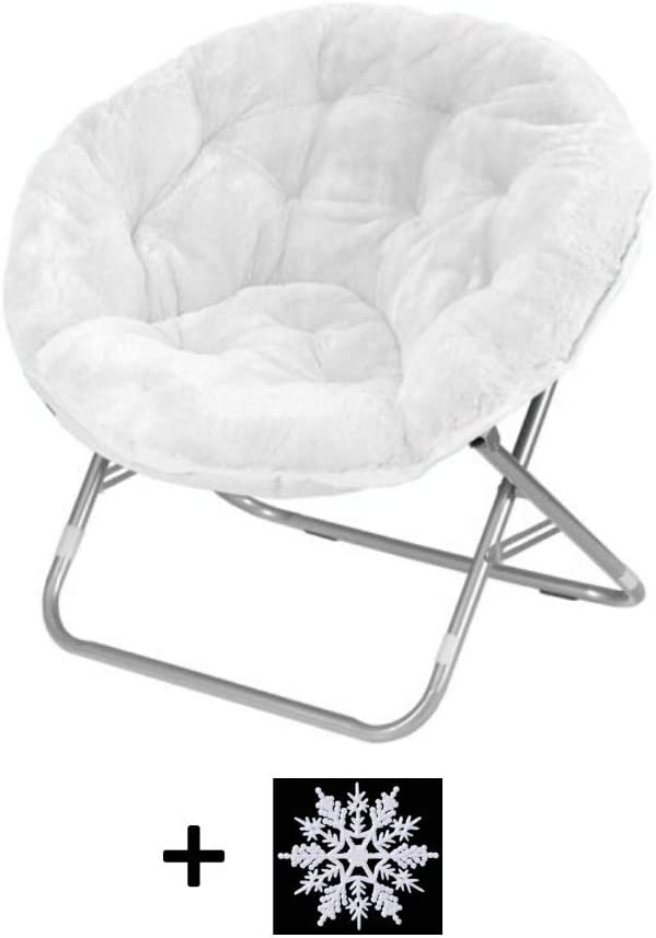 Mainstay Faux Fur Saucer Chair (White)