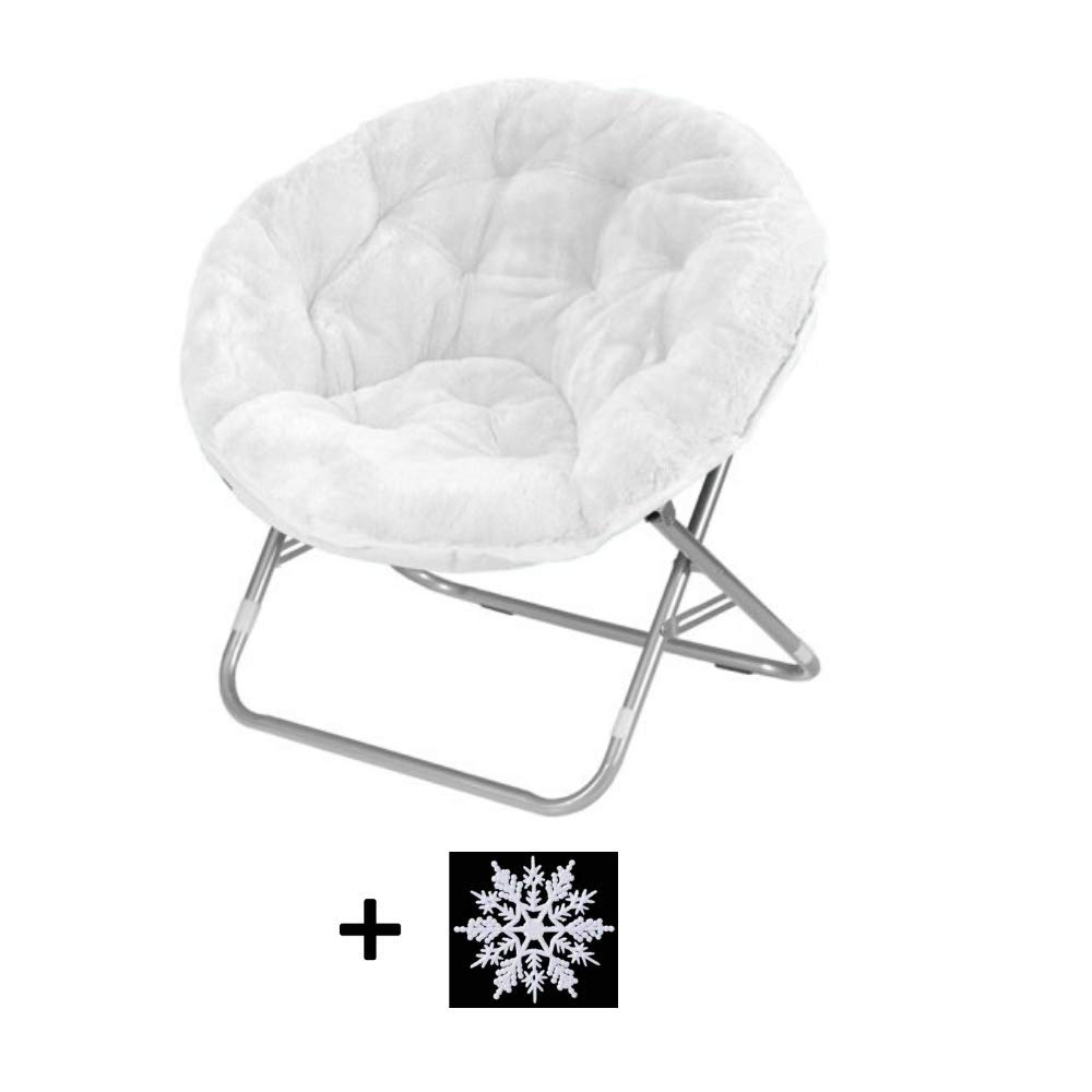 Mainstay Faux Fur Saucer Chair Black with Black Frame Colors