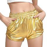 Women's Gold Metallic Shiny Shorts Hot Yoga Pants