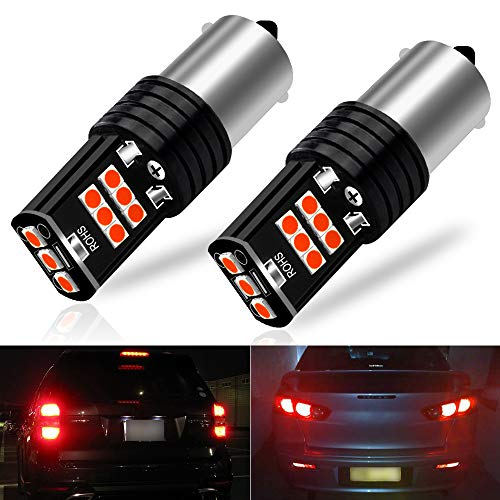 (Viesyled 2PCS 1156 LED Brake Lights Bulb Red 2057 7528 15-3030SMD 10-30 V Back Up Reverse Rear Tail Light Bulbs Extremely Bright Replacement, 1 Year Warranty)