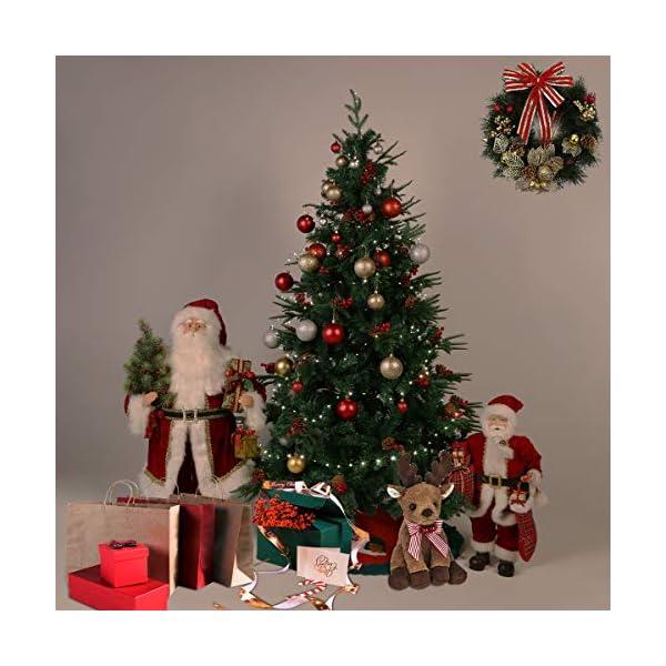 Kranich 1,5 m Albero di Natale da con pigne e Bacche Rosse, Montaggio rapido incl. Supporto per Albero di Natale, Decorazioni Natalizie 4 spesavip