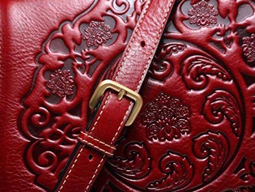 Borsa Tracolla Borsa Vintage A Tracolla Red Pelle Borsa Rilievo Moda In A A Vintage Tracolla A qXpXwrU