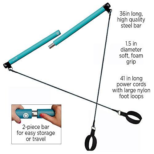 Exercise Bands Bar: Pilates Resistance Band & Toning Bar Home Gym Portable