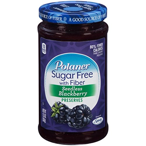 Polaner Sugar Free with Fiber, Seedless Blackberry Preserves, 13.5 Ounce