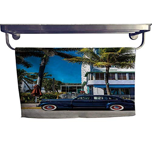 Leigh home Sports Ttowel,Classi Ameri Car on South Beach, Miami ,Ultra Soft, Cozy and Absorbent W 23.5