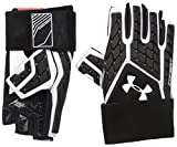 Under Armour Men's Combat V Half-Finger Football Gloves, White (100)/White, Small/Medium
