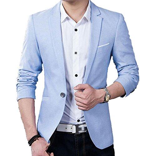 OULIU Men's Classic Wedding Formal Blazer Solid Business Suits Light Blue US-M (Men Blazer Light Blue compare prices)