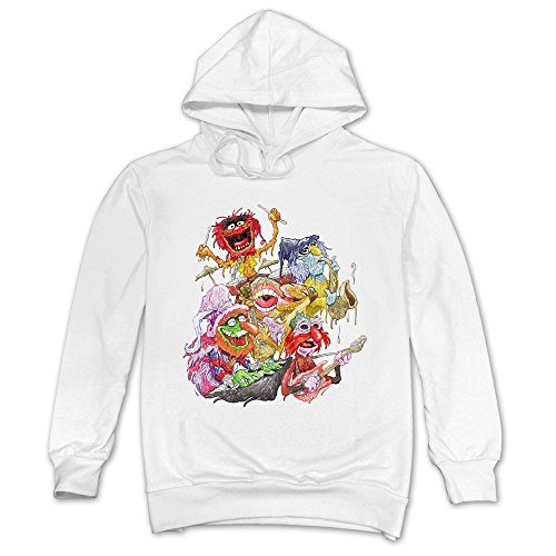 (Man Electric Mayhem Cartoon Muppet Hoodies White 100% Cotton)