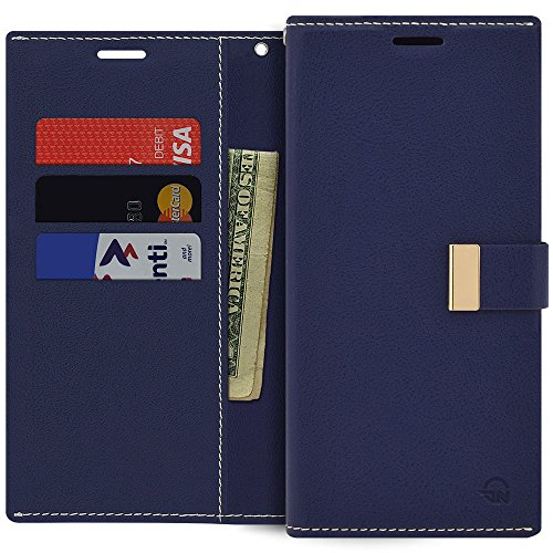 Qoosan Galaxy Note 5 Wallet Case, Slim Leather Flip Cover with Card Holder, Navy Blue