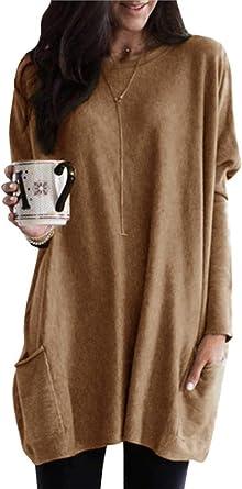 Minetom Mujeres Camiseta Mini Vestido Suéter Moda Pullover Camisa Larga Suelto Otoño Invierno Blusa Tops con Dos Bolsillos: Amazon.es: Ropa y accesorios