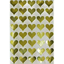 Gold Heart Metallic Sticker Envelope Seals - Gold Color coding labels Permanent adhesive - 200 pack