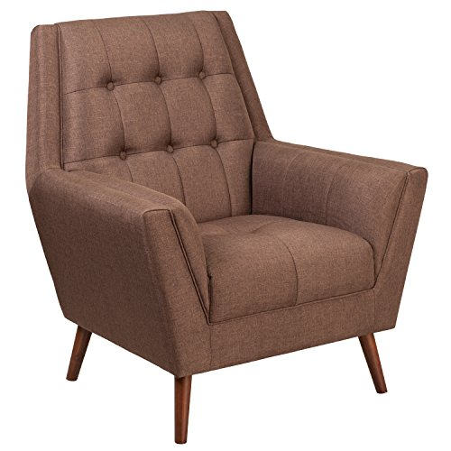 Flash Furniture HERCULES Kensington Series Contemporary Brown Fabric Tufted Arm Chair For Sale