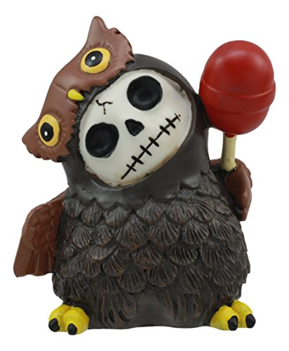 Ebros Furrybones Hootie The Great Horned Owl With Red Lollipop Skeleton Figurine 3
