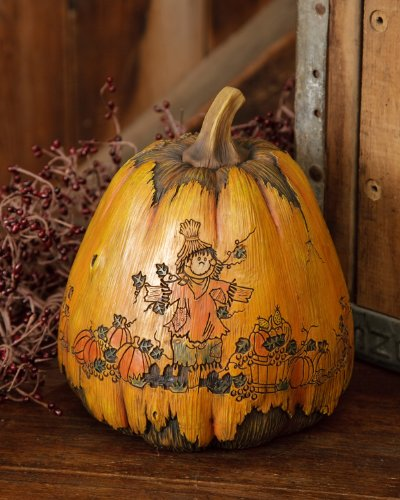 Your hearts delight resin carved pumpkin scarecrow decor