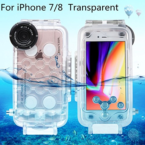 HAWEEL iPhone 7/ 8 Underwater Housing Professional [40m /130ft] Diving Case for Surfing Swimming Snorkeling Photo Video with Lanyard (iPhone 7/ 8, Transparent) from HAWEEL