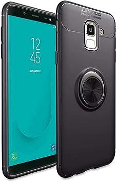 NALIA Funda con Anillo Compatible con Samsung Galaxy J6 Plus, Protectora Carcasa para Soporte Movil Coche Magnetico con 360° Kickstand, Fina Ring-Case Cover Cubierta Phone Bumper Piel, Color:Negro: Amazon.es: Electrónica
