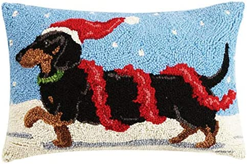 Prancing Santa Dachshund Dog Wool Hooked Dog Pillow – 12 x 18