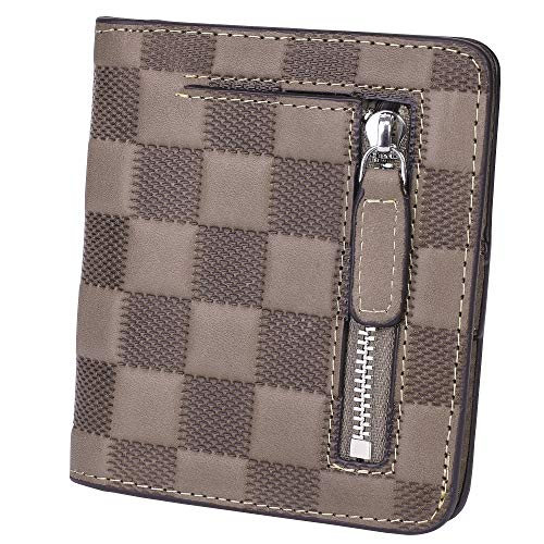 BIG SALE-AINIMOER Women's RFID Blocking Leather Small Compact Bifold Pocket Wallet Ladies Mini Purse with id Window (Checkered Gray)