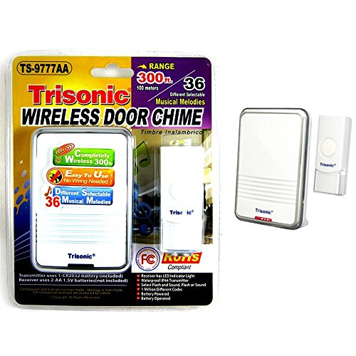 Wireless Door Bell Chime Battery Operated Powered 36 Musical Melodies LED Light