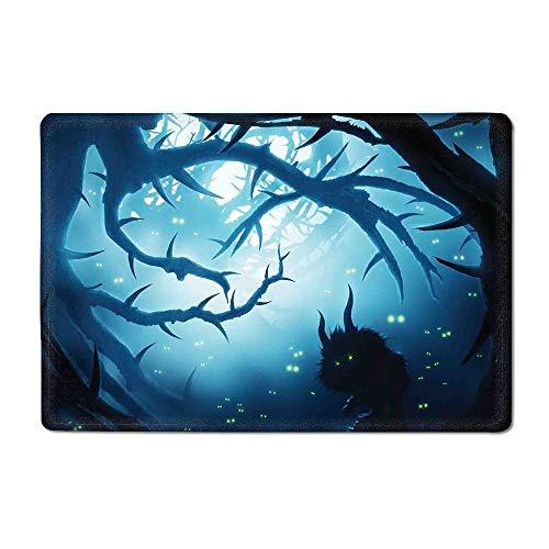 Mystic Decor Door mat Animal with Burning Eyes in Dark Forest at Night Horror Halloween Illustration Bathtub mat Navy White 16