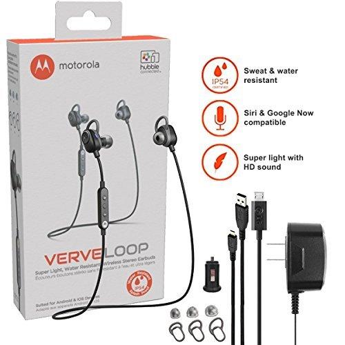 Motorola VerveLoop HD Wireless - Sweat & Water Resistant Stereo Earbuds