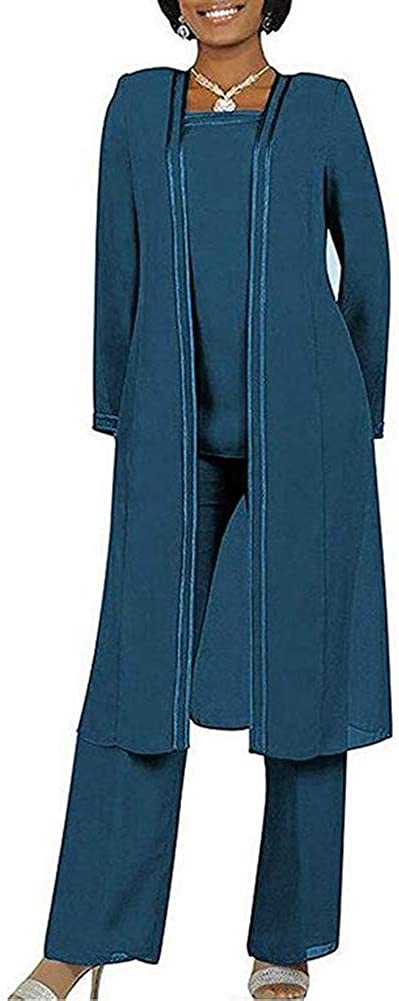 Women's Deluxe 3 PC Max 46% OFF Chiffon Pants Suit Outfit for Size Plus Dress