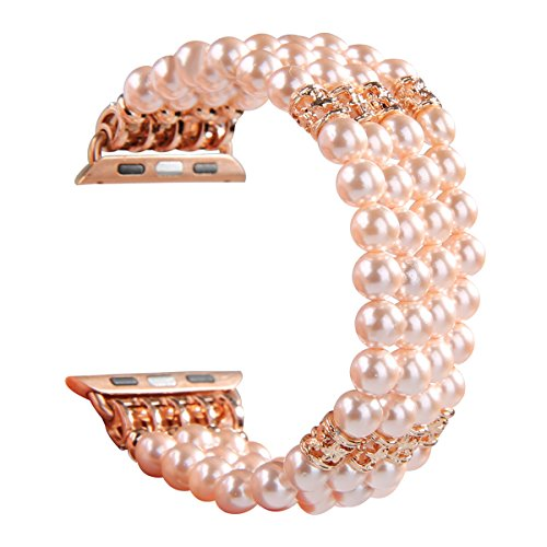 GEMEK Compatible with Apple Watch Band 38mm 40mm Women iWatch Bands Series 4 3 2 1, Handmade Beaded Elastic Stretch Pearl Bracelet Replacement Strap for Girls Wristband (Pink)