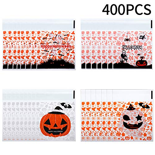 400 Pieces Halloween Self Adhesive Bags Cookie Candy Bags Cellophane Treat Bags for Party Gift Supplies, 4 Styles