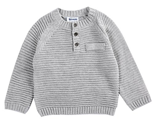 DOYOMODA Baby Boy Crew Neck Cable Pullover Button Down Sweater (18M, Grey)