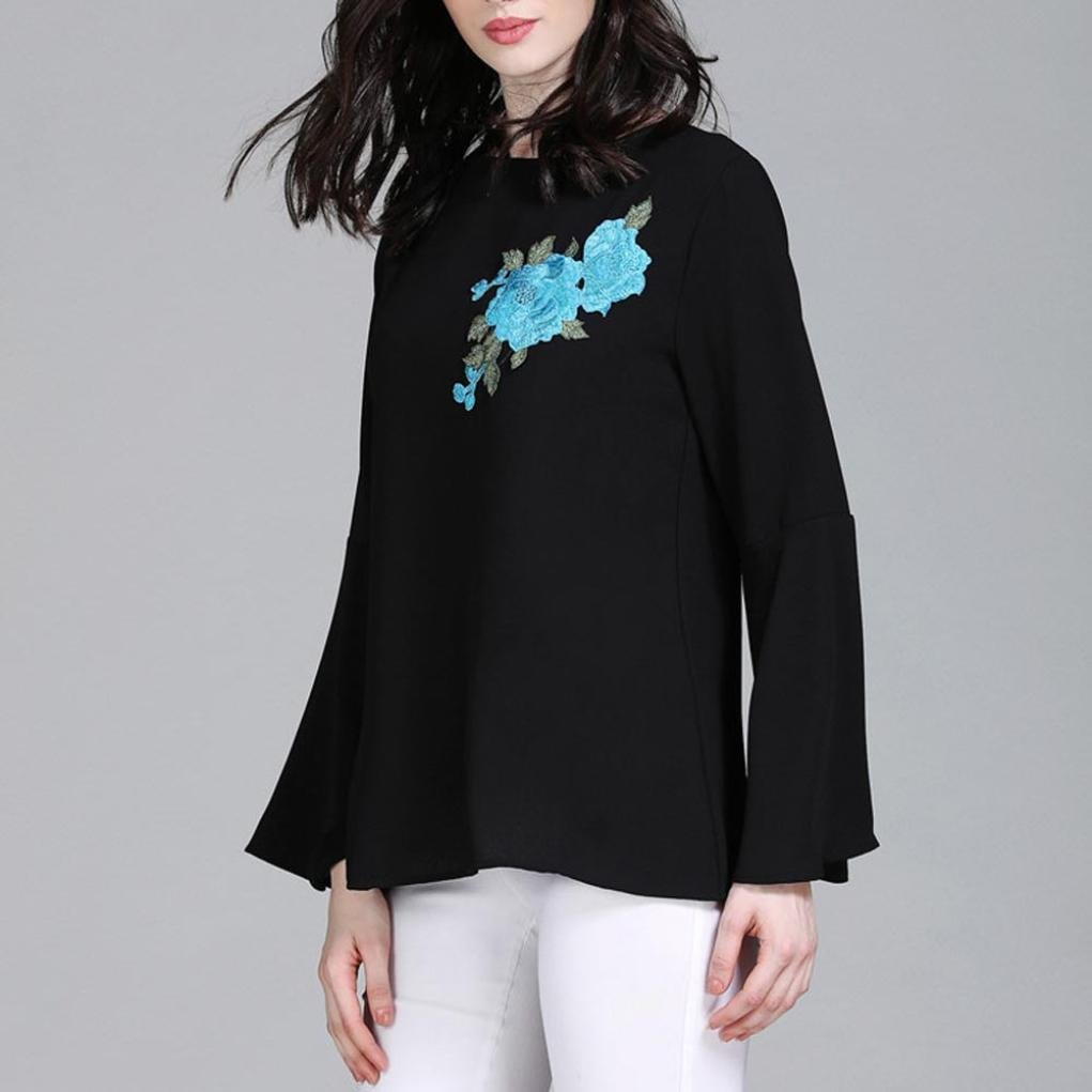 Women Pure Color Bell Sleeve Embroidery Flower Plus Size Muslim Service Tops